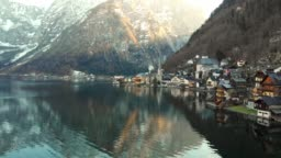 HALLSTATT - SMALL VILLAGE ON THE SHORE OF HALLSTATTER SEE UNDER THE STEEP SLOPES OF DACHSTEIN MOUNTAINS
