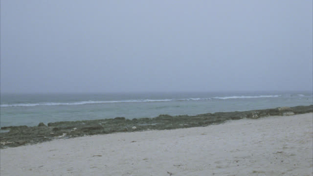 wide angle of ocean and beach. rocky. overcast sky. cloudy. sand on shore. - tahiti video stock e b–roll