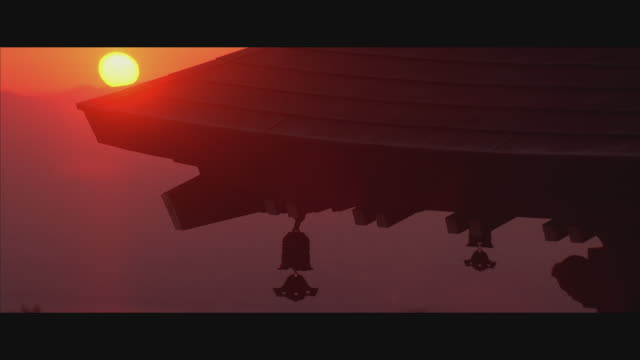 close angle of corner of temple roof as sun rises in background. bells or ornaments hang from edge of roof. roof is tile. sky glows orange. sunrises. could be shrine. could be buddhist. - japan stock videos & royalty-free footage