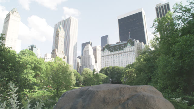 vídeos de stock, filmes e b-roll de pan up from boulder or rock to wide angle of central park and new york city skyline. high rises buildings and hotels. trees and lake visible. plaza hotel off fifth avenue visible. - boulder rock