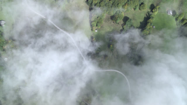 aerial high angle down of forests, mountains, trees, and winding mountain roads in riederstein bavaria. houses, small towns, and villages partially visible. clouds. countrysides and rural areas. - dorf stock-videos und b-roll-filmmaterial