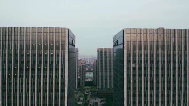 aerial view of office buildings - liyao xie stock videos & royalty-free footage