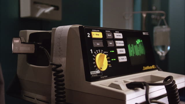 established medium angle of defibrillator or medical equipment at hospital. - defibrillator stock videos and b-roll footage