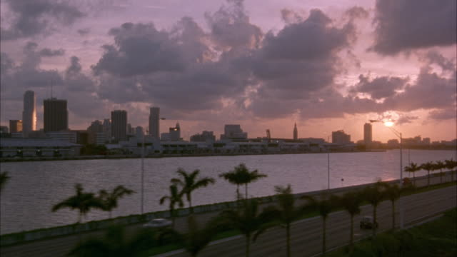 aerial of waterfront area. frame moves to right. small road with palm trees in foreground between water. high rise buildings in background. setting sun and clouds at right. beautiful shot. - 1995 stock-videos und b-roll-filmmaterial