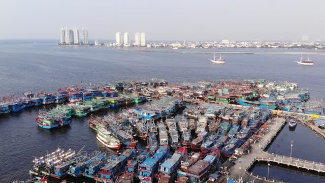 antenn bilder av muara angke port - indonesien bildbanksvideor och videomaterial från bakom kulisserna