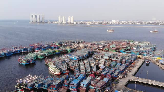 aerial footage of muara angke port - jakarta stock videos & royalty-free footage