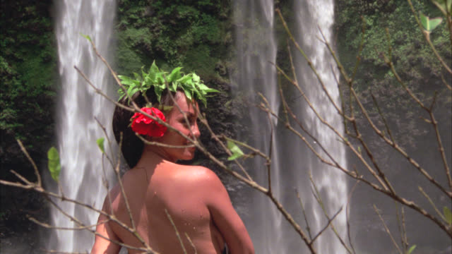 waterfall    close on native girl    double falls     she looks to cam and smiles near waterfall girl is not wearing any clothes - naked stock videos & royalty-free footage