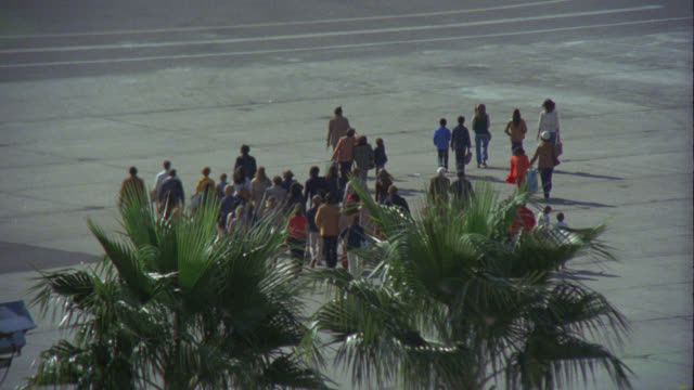 wide angle of passengers, people running on tarmac towards airplane. could be emergency or evacuation. palm trees in fg. - evacuazione video stock e b–roll