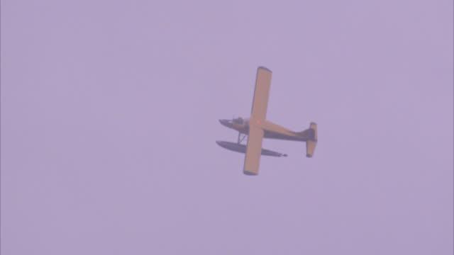vídeos y material grabado en eventos de stock de close angle of seaplane flying over bare tree tops through mist and fog. plane has pontoons. - bare tree