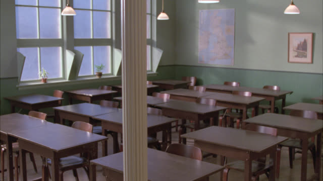 wide angle of old fashioned school room, class room with empty wooden desks. could be middle school or high school. - 1995 stock videos & royalty-free footage