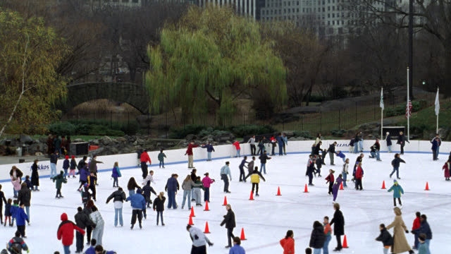 pan down from new york city skyline to wollman ice skating rink in central park. see office buildings. could be late fall or winter. see many people or families skating. pan up to plaza hotel with skyline in background. camera reverses back to skating rin - ice skating stock videos & royalty-free footage