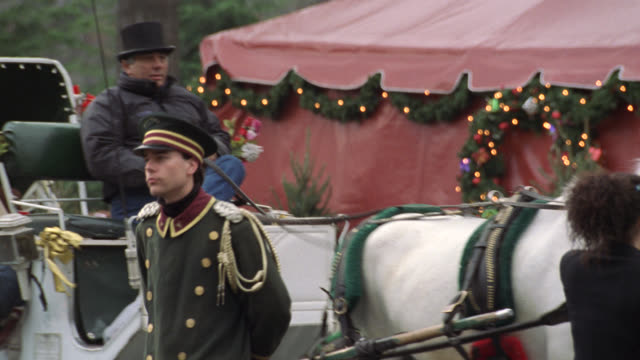 pan right to left from tavern on the green sign to white horse drawn carriage. see christmas decorations, lights, and wreaths outside restaurant. see doorman in front of carriage with driver and couple riding. camera pans back to sign and zooms out as car - tavern on the green stock videos & royalty-free footage