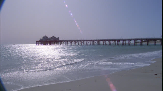 wide angle of malibu beach pier. ocean and beach. sand. - pier stock videos & royalty-free footage