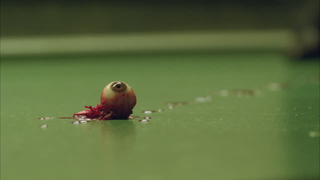 close angle of bloody eyeball on linoleum floor. blood. eyeball out of socket. gore. - gore stock videos & royalty-free footage