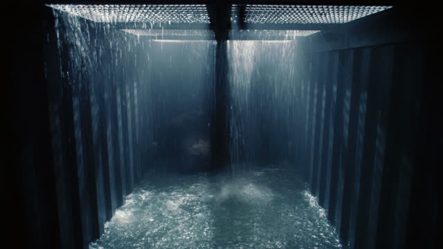 medium angle of gorilla or ape in cage or crate on cargo ship while it floods with water. gorilla angrily hits walls of crate and smacks surface of water. trapped. could be while ship is sinking. flashlights shining down through grate. drowning. - sink stock videos & royalty-free footage