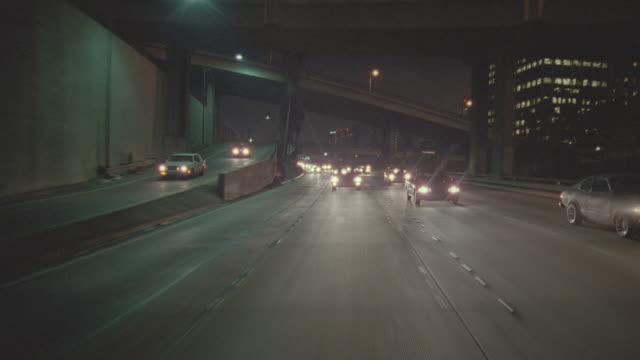 night: auto bg: straight back; santa monica, hollywood - driving plate stock videos & royalty-free footage