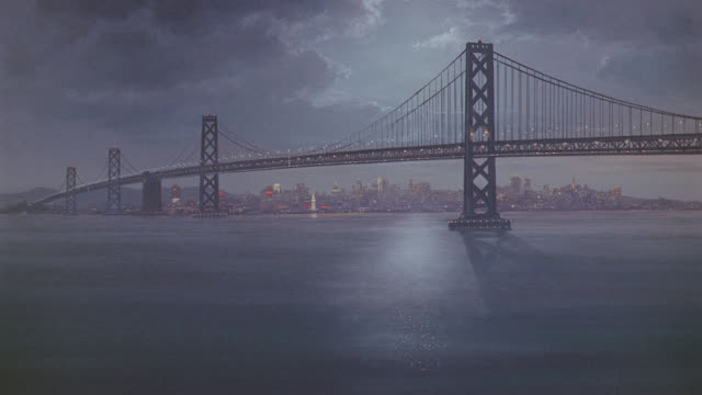 bridge - san francisco; night; very nice matte with movement - matte image technique stock videos & royalty-free footage