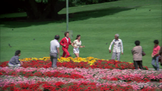 japanese tea gardens    harrison  and cindy jogging l-r ( golden gate park ) - 1985 stock videos & royalty-free footage