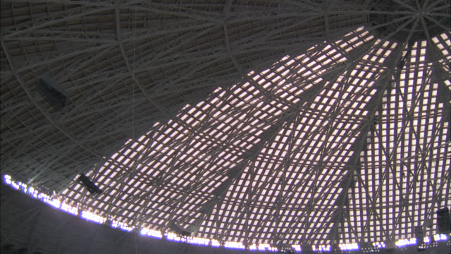 day - interior astrodome       pan down from roof of astrodome to ls of ---- bull riding competition  ---  rodeo  spectators stands people  stadium crowds. - rodeo stock videos & royalty-free footage