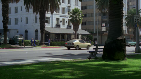 an hotel / pov from across the street through a park with palm trees / city street with 1970's cars and light traffic in fg / people walking on sidewalk / cmi to entrance to see people sitting at tables outside outdoor cafe outdoor restaurant / palm trees - 1970 1979 stock videos & royalty-free footage