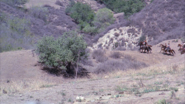 stockvideo's en b-roll-footage met cam follows principals on horseback r-l / opening field area / trees around / old west / they jump over dead tree stump - western usa