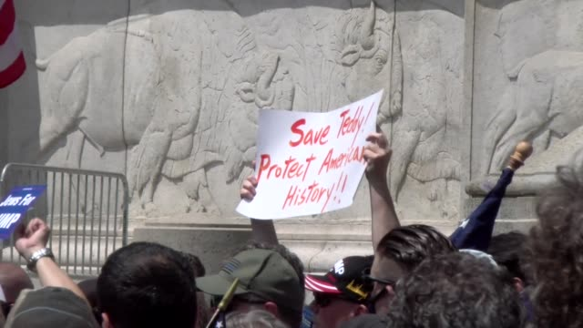 protest crowd in front of statue save teddy protect american history sign - salmini video stock e b–roll