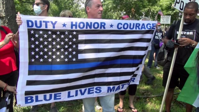 duty honor courage blue lives matter banner - salmini stock videos & royalty-free footage