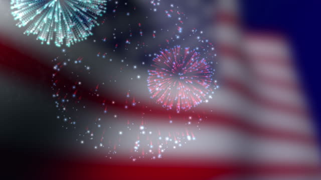 usa flag and fireworks background - firework display stock videos & royalty-free footage