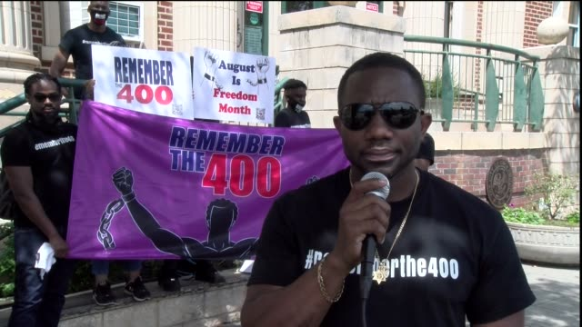 jermain edwards director of remember of the 400 ny and nj on camera he explains the purpose of the march and the group - salmini stock videos & royalty-free footage