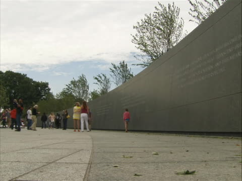 low-angle shot of the 'inscription wall' of the marting luther king jr. memorial in washington d.c. - engraved image stock videos & royalty-free footage