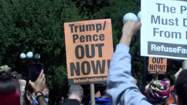 trump pence out now sign - salmini stock videos & royalty-free footage