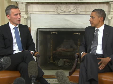 norway prime minister jens stoltenberg sot on president obama's politics sot - office politics stock videos & royalty-free footage