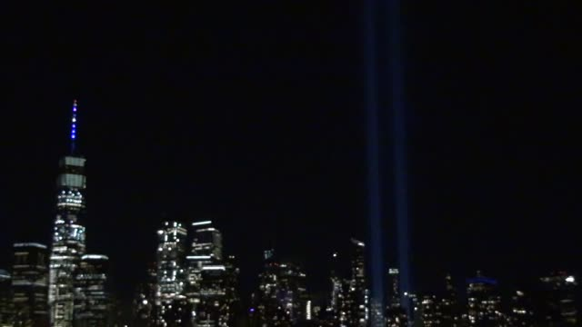 the annual september 11 tribute two beams of light let us remember the twin towers that fell on september 11 2001 - salmini stock videos & royalty-free footage