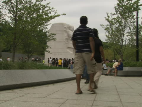 side-angle of the 'stone of hope' from the martin luther king jr. memorial in washington d.c. - engraved image stock videos & royalty-free footage