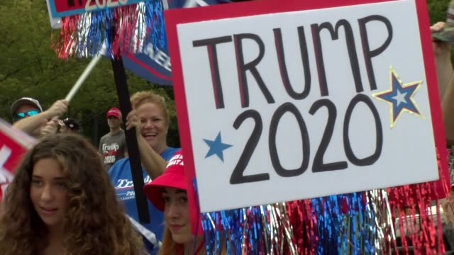 trump 2020 and cheering crowd - salmini stock videos & royalty-free footage