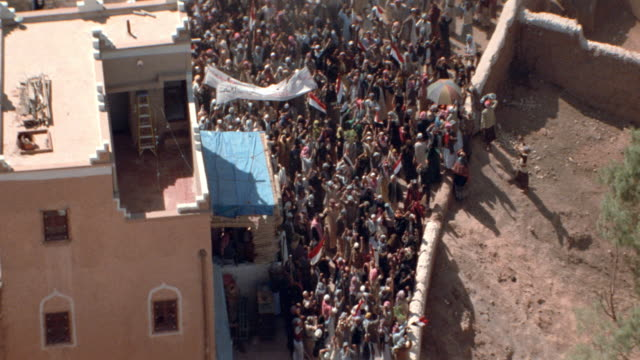 aerials-arabs-middle east-demonstration-mobs/riot - 1999 stock videos & royalty-free footage