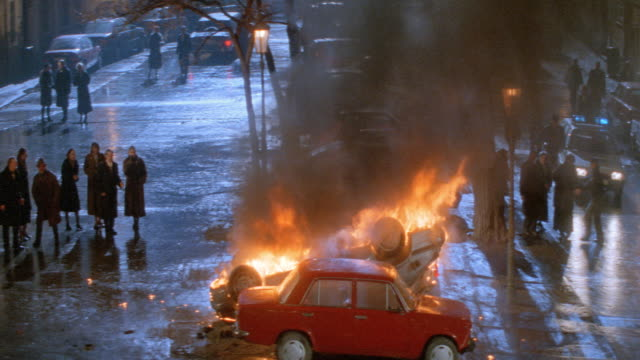 nx - foreign car, car explosion, parked cars, prague, czechoslovakia - prague stock videos & royalty-free footage