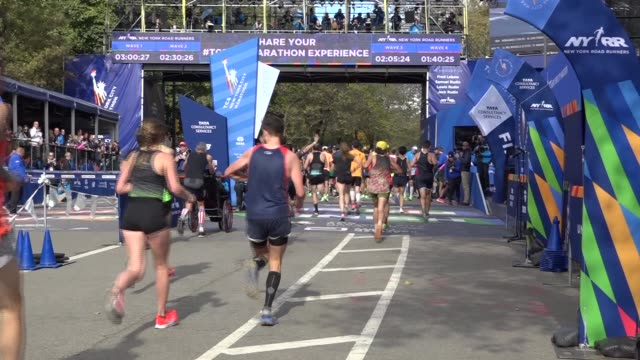 happy runners celebrate final yards - looking to finish line - salmini stock videos & royalty-free footage