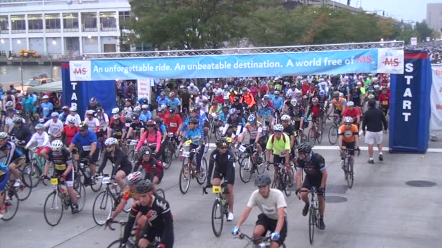 thousands of cyclists bike a charity cycling event that heads through the lincoln tunnel to the new jersey suburbs - salmini stock videos & royalty-free footage