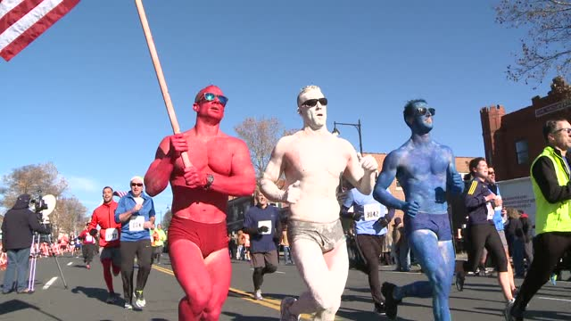 red, white and blue painted runners in final stretch - salmini stock videos & royalty-free footage