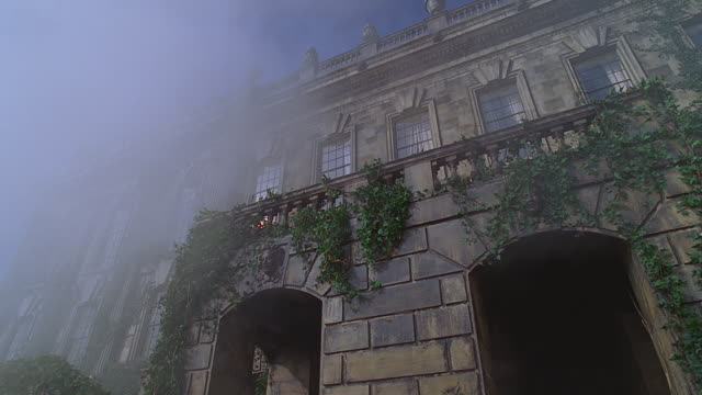 ua cu front of large english estate; mist blows by - low angle view stock videos & royalty-free footage