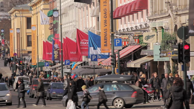 karl johans gate rt 3 - norway stock videos & royalty-free footage