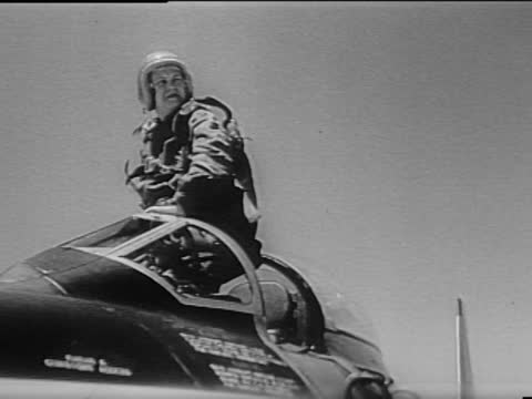 at edwards air force base, california, an f.-86 sabrejet is taken aloft by speed flier jacqueline cochran. already world renowed for many record... - speed stock videos & royalty-free footage