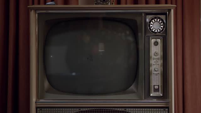 close angle of classic television set. tv turned off. could be living room. - 1956 stock videos & royalty-free footage