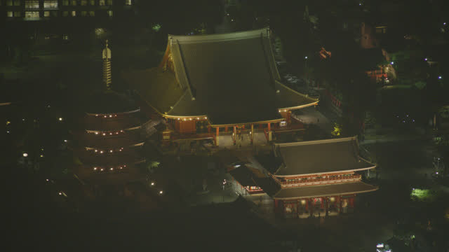 aerial of sensoji temple or asakusa kannon temple with hozomon gate and pagoda visible. tourist and religious area. historic buddhist temple. - shrine stock videos & royalty-free footage