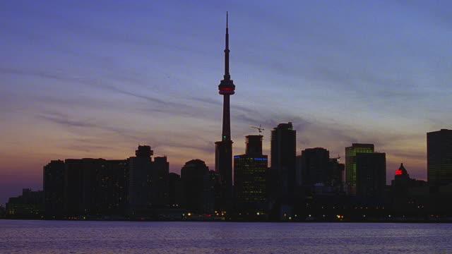 magic hour toronto, ontario, canada skyline - toronto stock videos & royalty-free footage