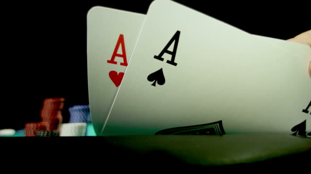 pocket rockets-texas holdem-1080hd - hand of cards stock videos & royalty-free footage