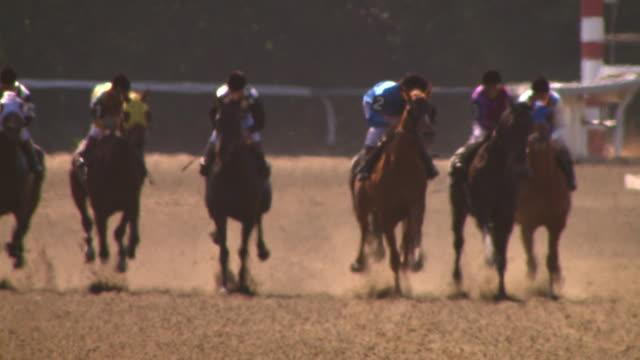 horse race footage (santa anita racetrack) - 競走馬点の映像素材/bロール