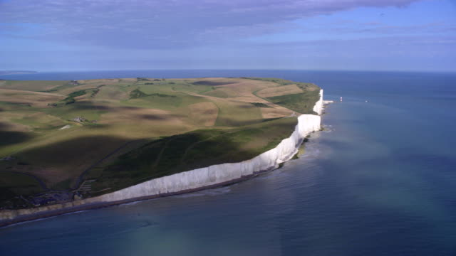 aerial white cliffs of dover - 30 seconds or greater stock videos & royalty-free footage