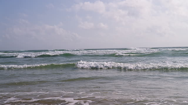 1 deserted beach w/light surf - horizon over water stock videos & royalty-free footage